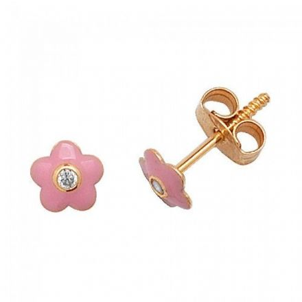 Just Gold Earrings -9Ct Gold Enamel Baby Studs, ES321